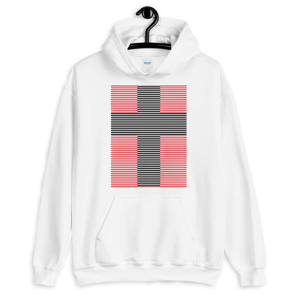 Black Cross Red Lines Unisex Hoodie Abyssinian Kiosk Christian Jesus Religion Lined Latin Cross Gildan Original Art Fashion Cotton Apparel Clothing