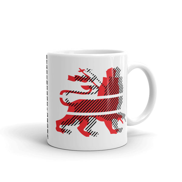 Red Black Lion Diagonal Lines Kaffa Mug