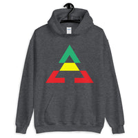 Pyramid GYR Unisex Hoodie Gildan Original Art Abyssinian Kiosk Fashion Cotton Apparel Clothing Triangle GYR Green Yellow Red Ethiopia Ethiopian Flag