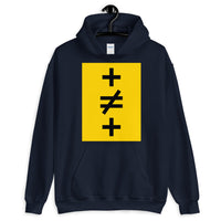 Crosses Not Made Equal Unisex Hoodie Abyssinian Kiosk Plus Sign Not Equal to Mathematics Yellow Black Gildan Original Art Fashion Cotton Apparel Clothing