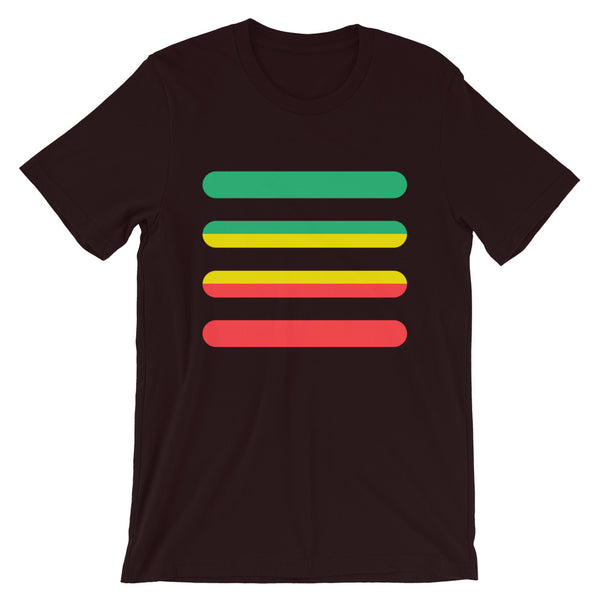 Green to Yellow to Red Bars Unisex T-Shirt Abyssinian Kiosk Ethiopia Fashion Cotton Apparel Clothing Bella Canvas Original Art