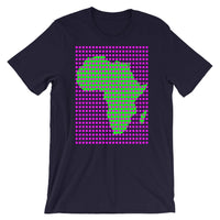 Magenta Squares Green Africa Unisex T-Shirt Map African Abyssinian Kiosk Fashion Cotton Apparel Clothing Bella Canvas Original Art