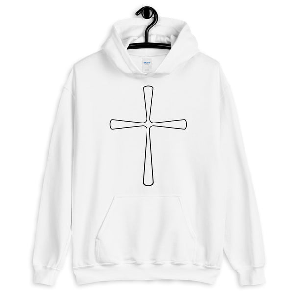 Black Outline Curve T Cross Unisex Hoodie Abyssinian Kiosk Ethiopian Latin Christian Jesus Gildan Original Art Fashion Cotton Apparel Clothing