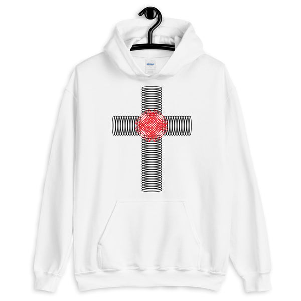 Black & Red Ellipse Cross Unisex Hoodie Abyssinian Kiosk Christian Jesus Religion Cross Gildan Original Art Fashion Cotton Apparel Clothing