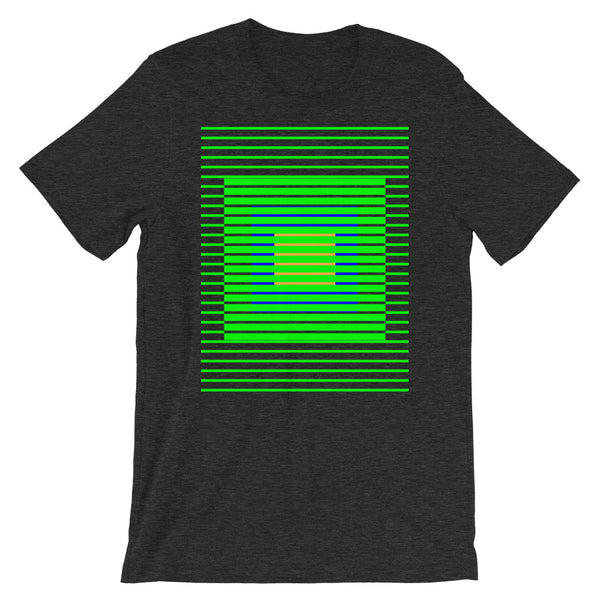 Green Stripes Blue Orange Squares Unisex T-Shirt Squares Within Lines Abyssinian Kiosk Fashion Cotton Apparel Clothing Bella Canvas Original Art