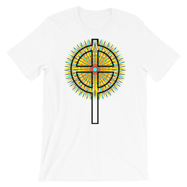 Star Cross Black Unisex T-Shirt Abyssinian Kiosk Hollow Circle Top Cross Ethiopian Coptic Orthodox Tewahedo Christian Bella Canvas Original Art Fashion Cotton Apparel Clothing