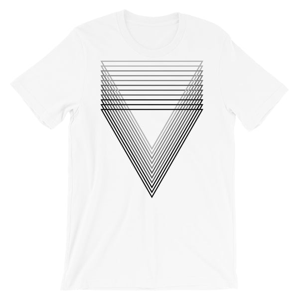Black Chiaroscuro Triangles Unisex T-Shirt From Light to Bold Color Abyssinian Kiosk Fashion Cotton Apparel Clothing Bella Canvas Original Art