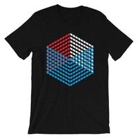 Red White Blue Cube Illusion Unisex T-Shirt America USA Abyssinian Kiosk 3D Bars Polygon Fashion Cotton Apparel Clothing Bella Canvas Original Art
