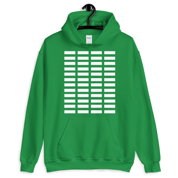 White Grid Bars Unisex Hoodie Abyssinian Kiosk Rectangle Bars Spaced Evenly Grid Pattern Fashion Cotton Apparel Clothing Gildan Original Art