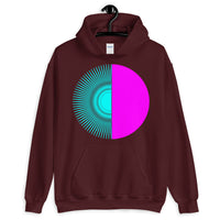 Cyan Half Star Magenta Half Circle Unisex Hoodie Abyssinian Kiosk Fashion Cotton Apparel Clothing Gildan Original Art