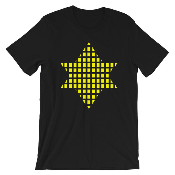 Yellow Boxes Star of David Unisex T-Shirt Abyssinian Kiosk Rectangles Jewish Falasha Abyssinia Ethiopia Bella Canvas Original Art Fashion Cotton Apparel Clothing