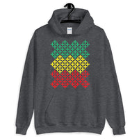 Green Yellow Red Solid Cross Pattern Unisex Hoodie Abyssinian Kiosk Equal-Armed Cross Ethiopian Coptic Orthodox Christian Gildan Original Art Fashion Cotton Apparel Clothing