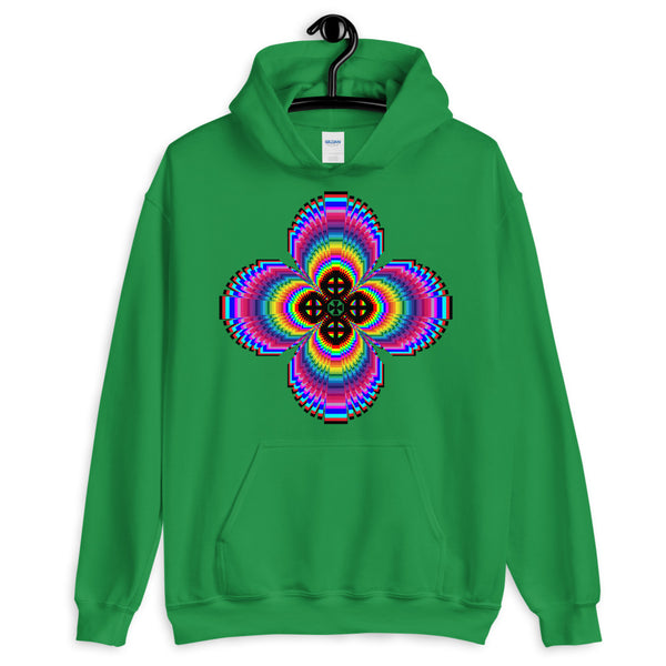 Psychedelic #9 Cross Black Unisex Hoodie Trip Trippy Colorful Ethiopian Coptic Orthodox Abyssinian Kiosk Christian Gildan Original Art Fashion Cotton Apparel Clothing