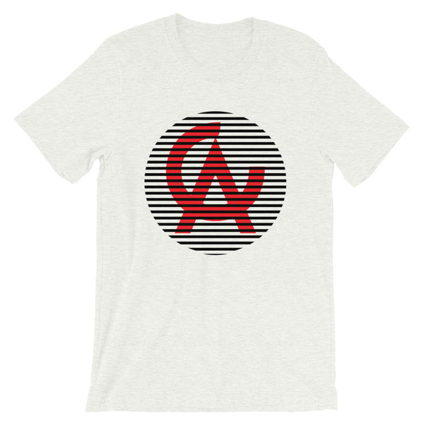 Black Lined Circle Red CA Unisex T-Shirt Lines California State Abyssinian Kiosk Fashion Cotton Apparel Clothing Bella Canvas Original Art