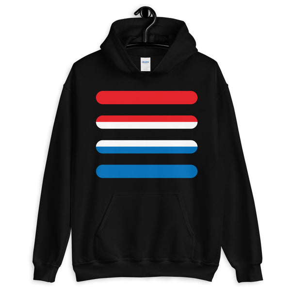 Red White Blue Bars Unisex Hoodie Abyssinian Kiosk America Fashion Cotton Apparel Clothing Gildan Original Art