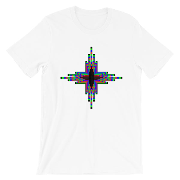 Psychedelic Zia Sun Cross Unisex T-Shirt Abyssinian Kiosk Trip Trippy Colorful Bella Canvas Original Art Fashion Cotton Apparel Clothing