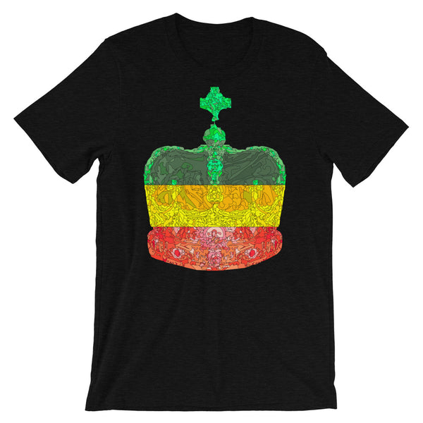 GYR Crown Black Lines Unisex T-Shirt Abyssinian Kiosk Empress Menen Crown Haile Selassie Green Yellow Red African Royal Royalty Fashion Cotton Apparel Clothing Bella Canvas Original Art