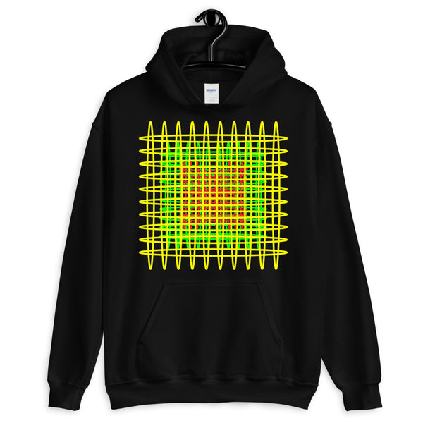 Yellow Green Red Ellipses Unisex Hoodie Abyssinian Kiosk Fashion Ellipses Inside Ellipses Cotton Apparel Clothing Gildan Original Art