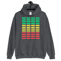 Green Yellow Red Grid Bars Unisex Hoodie Abyssinian Kiosk Rectangle Bars Spaced Evenly Grid Pattern Fashion Cotton Apparel Clothing Gildan Original Art