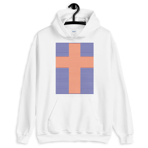 Orange Cross Navy Blue Lines Unisex Hoodie Abyssinian Kiosk Christian Jesus Religion Lined Latin Cross Gildan Original Art Fashion Cotton Apparel Clothing