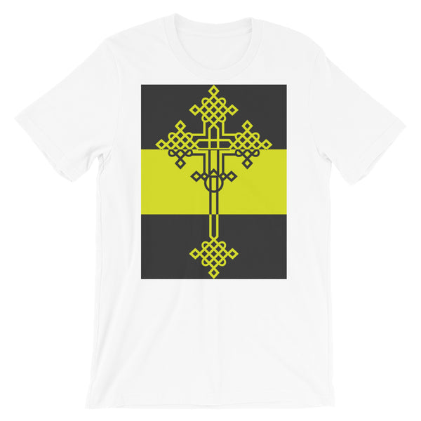 Grey Dark Yellow Grey Opposite #13 Cross Unisex T-Shirt Abyssinian Kiosk Ethiopian Coptic Orthodox Tewahedo Christian Bella Canvas Original Art Fashion Cotton Apparel Clothing