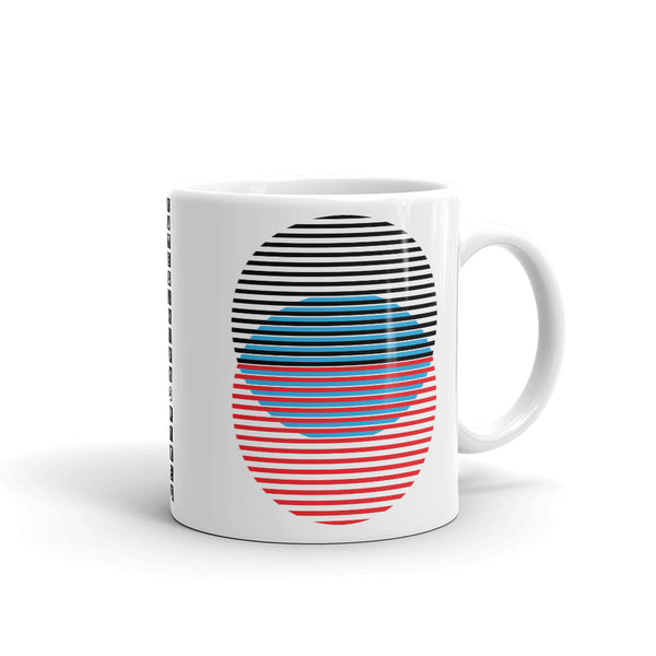 Black Blue Red Lined Circles Kaffa Mug