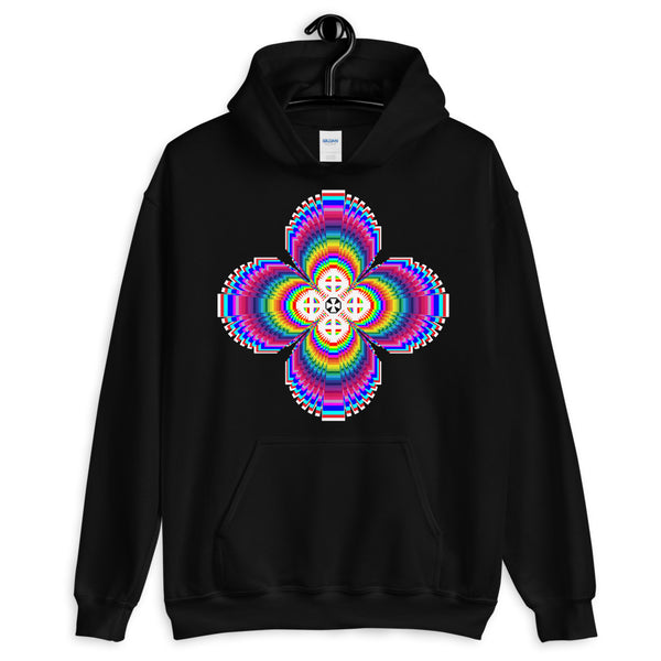 Psychedelic #9 Cross White Unisex Hoodie Trip Trippy Colorful Ethiopian Coptic Orthodox Abyssinian Kiosk Christian Gildan Original Art Fashion Cotton Apparel Clothing