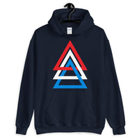 3 Triangles RWB Unisex Hoodie Abyssinian Kiosk Red White Blue America Fashion Cotton Apparel Clothing Gildan Original Art