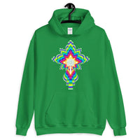 Psychedelic White #10 Cross Unisex Hoodie Trip Trippy Colorful Ethiopian Coptic Orthodox Abyssinian Kiosk Christian Gildan Original Art Abyssinian Kiosk Fashion Cotton Apparel Clothing