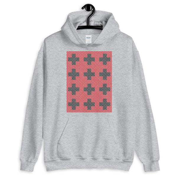 Criss Cross Red Black Unisex Hoodie Abyssinian Kiosk 12 Small Equal Arm Crosses Christian Gildan Original Art Fashion Cotton Apparel Clothing