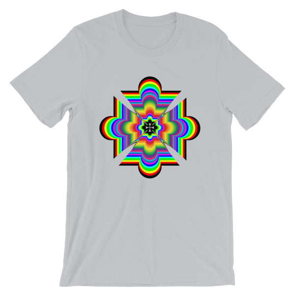 Random Psychedelic Cross Black Unisex T-Shirt Trip Trippy Colorful Ethiopian Coptic Orthodox Abyssinian Kiosk Christian Bella Canvas Original Art Abyssinian Kiosk Fashion Cotton Apparel Clothing