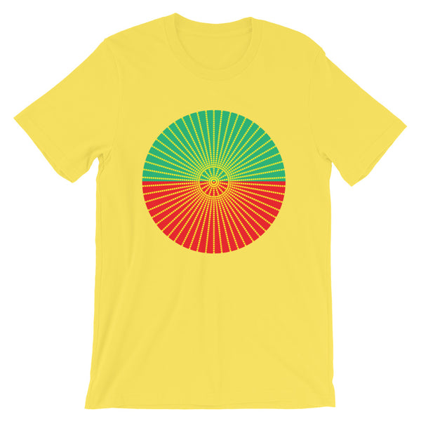 Yellow Cube Spokes Green Top Red Bottom Unisex T-Shirt Abyssinian Kiosk Squares Bicycle Spokes Dual Color Circle Fashion Cotton Apparel Clothing Bella Canvas Original Art