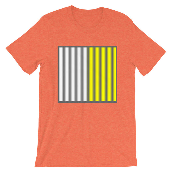 Grey Back White Yellow Lines Unisex T-Shirt Square Abyssinian Kiosk Fashion Cotton Apparel Clothing Bella Canvas Original Art
