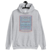 Black Red Yellow Blue Cyan Ellipses Unisex Hoodie Abyssinian Kiosk Contained Chaos of Hovering Ellipses Fashion Cotton Apparel Clothing Gildan Original Art