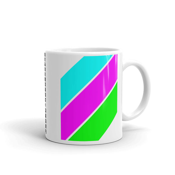Cyan Magenta Green Stripes Kaffa Mug