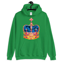 Funky Crown Blue Unisex Hoodie Abyssinian Kiosk Empress Menen Crown Haile Selassie Colors African Royal Royalty Fashion Cotton Apparel Clothing Gildan Original Art