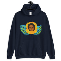 Green Blue Angel Unisex Hoodie Traditional Ethiopian with Feathers and Wings Abyssinian Kiosk Ethiopian Gildan Original Art Fashion Cotton Apparel Clothing