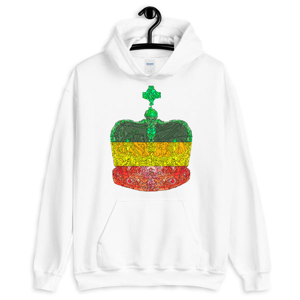 GYR Crown Black Lines Unisex Hoodie Abyssinian Kiosk Empress Menen Crown Haile Selassie Green Yellow Red African Royal Royalty Fashion Cotton Apparel Clothing Gildan Original Art