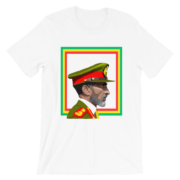 Haile Selassie Color Profile GYR Frame Unisex T-Shirt Abyssinian Kiosk Emperor Rasta Rastafari Green Yellow Red Ethiopian Flag Ethiopia Africa African Abyssinia Habesha History Military Uniform Art Portrait Vintage Reggae Bella Canvas Original Art Fashion Cotton Apparel Clothing