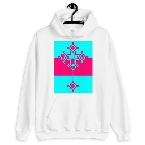 Cyan Pink Cyan #13 Cross Unisex Hoodie Abyssinian Kiosk Ethiopian Coptic Orthodox Tewahedo Christian Gildan Original Art Fashion Cotton Apparel Clothing