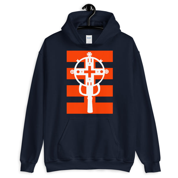White Cross Red Stripes Unisex Hoodie Ethiopian Coptic Orthodox Abyssinian Kiosk Christian Apparel Gildan Clothing