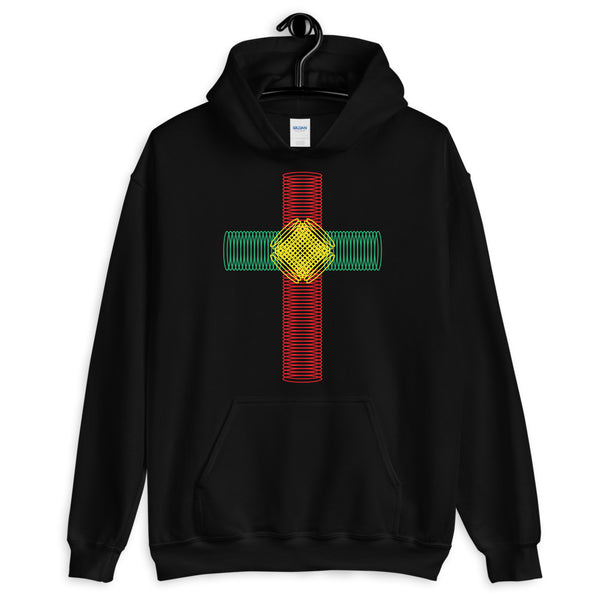 Green Yellow Red Ellipse Cross Unisex Hoodie Abyssinian Kiosk Christian Jesus Religion Cross Gildan Original Art Fashion Cotton Apparel Clothing
