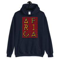 Africa Yellow Letters Red Grid Unisex Hoodie Abyssinian Kiosk Fashion Cotton Apparel Clothing Gildan Original Art