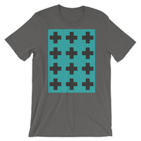 Criss Cross Cyan Black Unisex T-Shirt Abyssinian Kiosk 12 Small Equal Arm Crosses Christian Bella Canvas Original Art Fashion Cotton Apparel Clothing