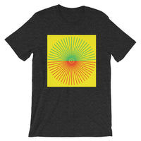 Green & Red Cube Spokes Yellow BG Unisex T-Shirt Abyssinian Kiosk Fashion Cotton Apparel Clothing Bella Canvas Original Art
