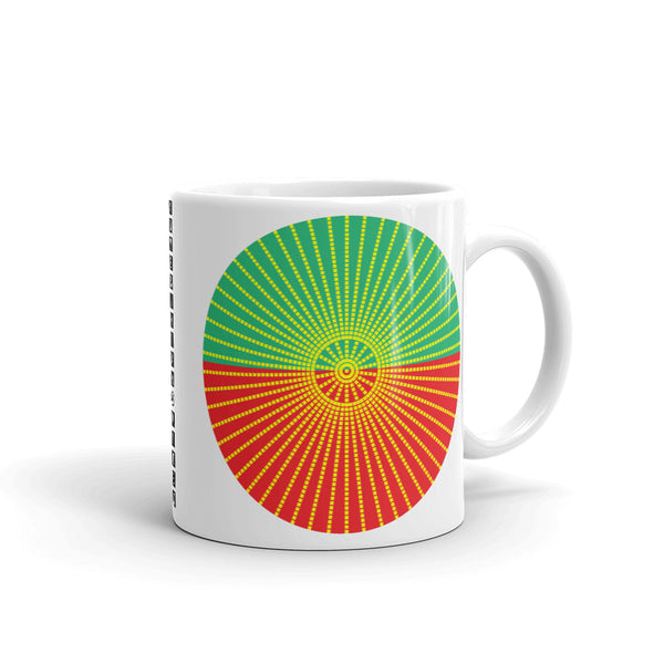 Yellow Cube Spokes Green Top Red Bottom Kaffa Mug