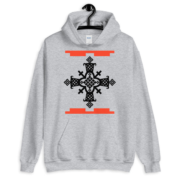 Black Cross Red Legos Unisex Hoodie Ethiopian Coptic Orthodox Abyssinian Kiosk Christian Apparel Gildan Clothing