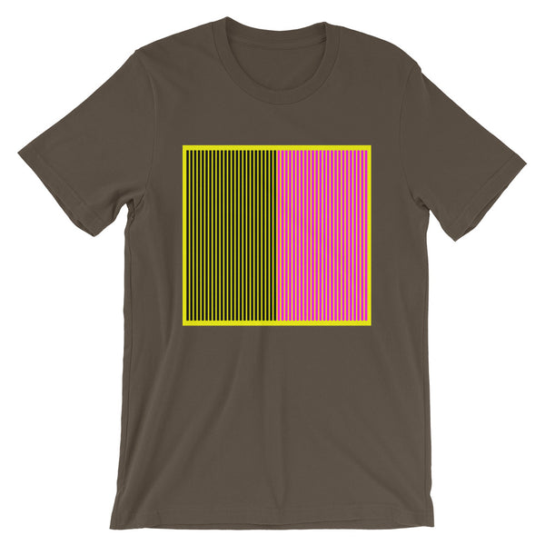 Yellow Back Black Magenta Lines Unisex T-Shirt Square Abyssinian Kiosk Fashion Cotton Apparel Clothing Bella Canvas Original Art