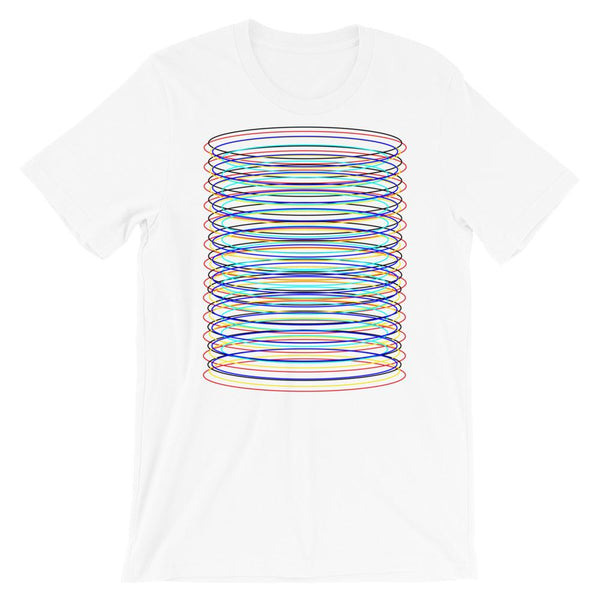 Black Red Yellow Blue Cyan Ellipses Unisex T-Shirt Abyssinian Kiosk Contained Chaos of Hovering Ellipses Fashion Cotton Apparel Clothing Bella Canvas Original Art
