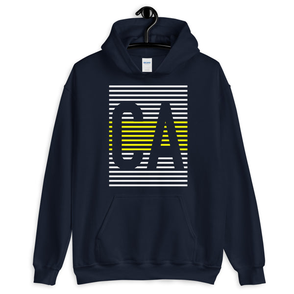 CA White Yellow Lines Unisex Hoodie California State Abyssinian Kiosk Fashion Cotton Apparel Clothing Gildan Original Art